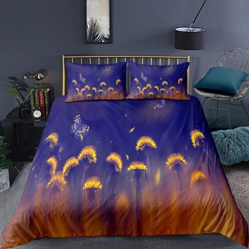 Conjuntos de ropa de cama Súper suave Otoño Inicio Textil Tapa de lujo de lujo Diente de león negro Diente de león y funda de almohada Individual Twin Queen King Tamaño