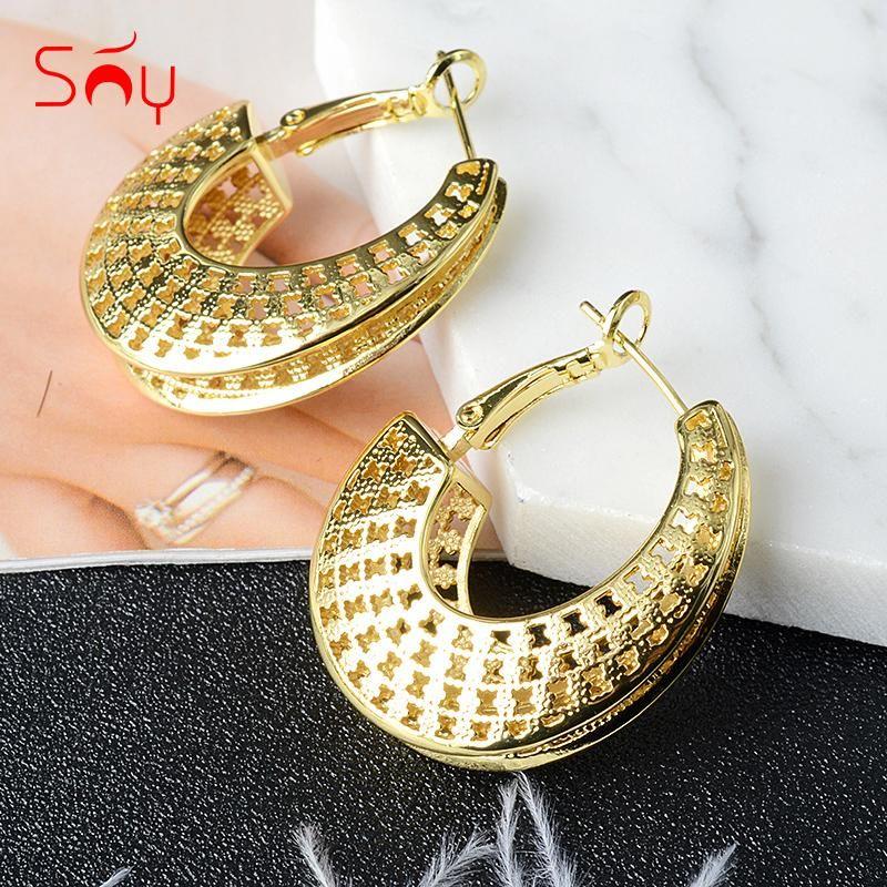 Sunny Bijoux Fashion Copper Haut Haute Qualité Big Boucles d'oreilles pour Femmes Classique Luxe Anniversary Romantique Cadeaux Branchis Huggie
