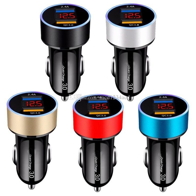 LED عرض QC3.0 5 فولت 3a المزدوج usb شاحن سيارة شحن سريع محول لآيفون 7 8 11 برو سامسونج أندرويد الهاتف gps pc mp3