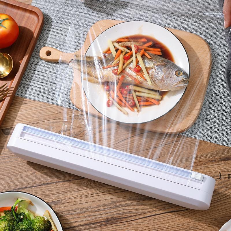 재사용 가능한 음식 플라스틱 랩 커터 Cling Foil / 필름 커터 BPA 무료 플라스틱 랩 디스펜서 슬라이드 커터 흡착기 부엌 용품 BWF6926