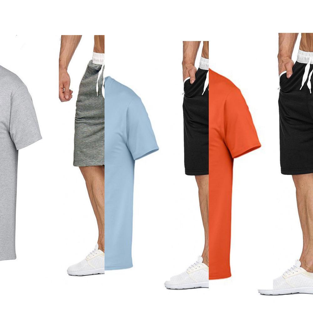 Herren Trainingsanzug Sommer Kleidung Sportswear Zweiteiler Set T-Shirt Shorts Marke Spur Kleidung Männliche Sweatsanzug Sportanzüge Ehemann X0601