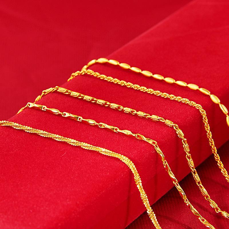 ForcroomColor Женские 24K Песок Ювелирные Изделия Ожерелье Волна Волна Змея Костяная Медь Позолоченная Тонкая Коробка Цепь