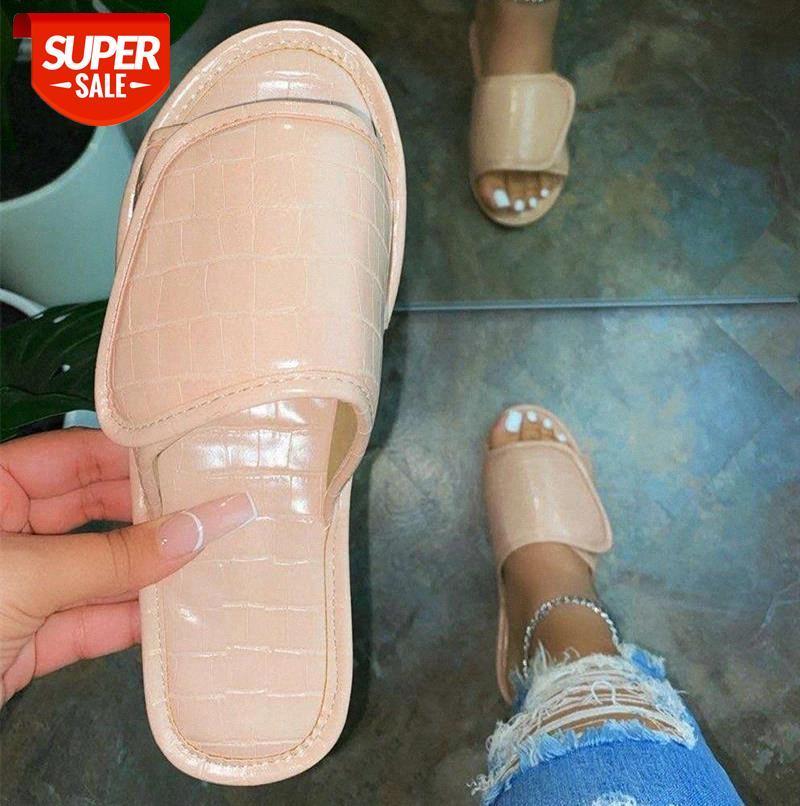 2021 Summer Slippers Women Slides Fashion Flat Woman Leather Hook Loop Big Size 43 Shoes Ladies Indoor Footwear #6g4U