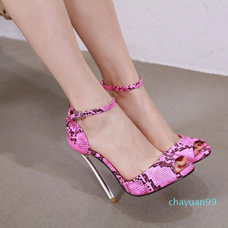 Fashion Designer Scarpe Snake Grain Stampato Punte Punte Strap per caviglia Tacchi alti Dimensioni da 34 a 40 Vengono 2021