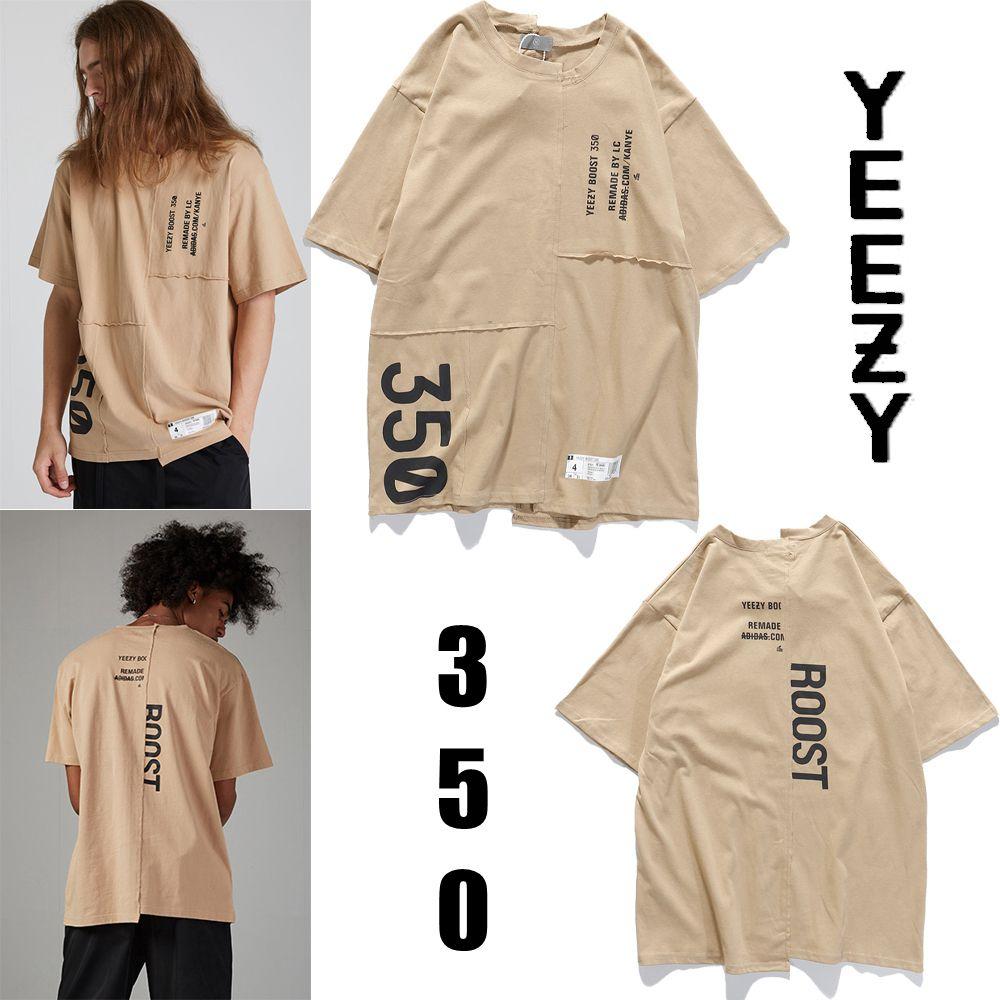 스푸핑 비대칭 남성 여성 여름 티셔츠 힙합 스트리트웨어 카키 캐주얼 편지 인쇄 대형 탑스 티셔츠