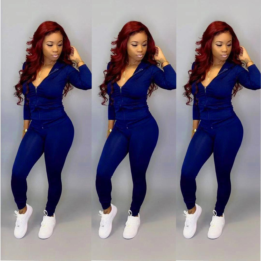 Ladies Casual Outfits Piece Tracksuits Fashion Solid Color Hooded Zipper With Pocket Cardigan Pencli Pants Suit Club Party New Women Two