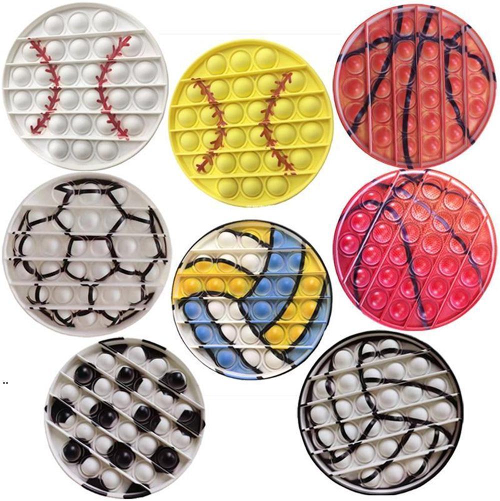 ¡¡¡NUEVO!!! Deportes Béisbol Push Silicon Toy Sensory Burbujas Simple Dimples Fidget Juegos Tablero Niños Enfoque Juguetes Juguetes Adultos Descompresión DWA7005
