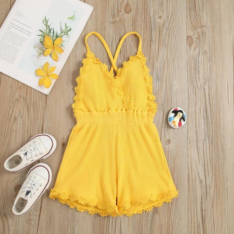 Jumpsuits Kinder Baby Mädchen Massivfarbe Strampler 2021 Backless Slip Overall Sommer Sleeveless Spitze V-Ausschnitt Aufgehängte Spielanzug Outfits