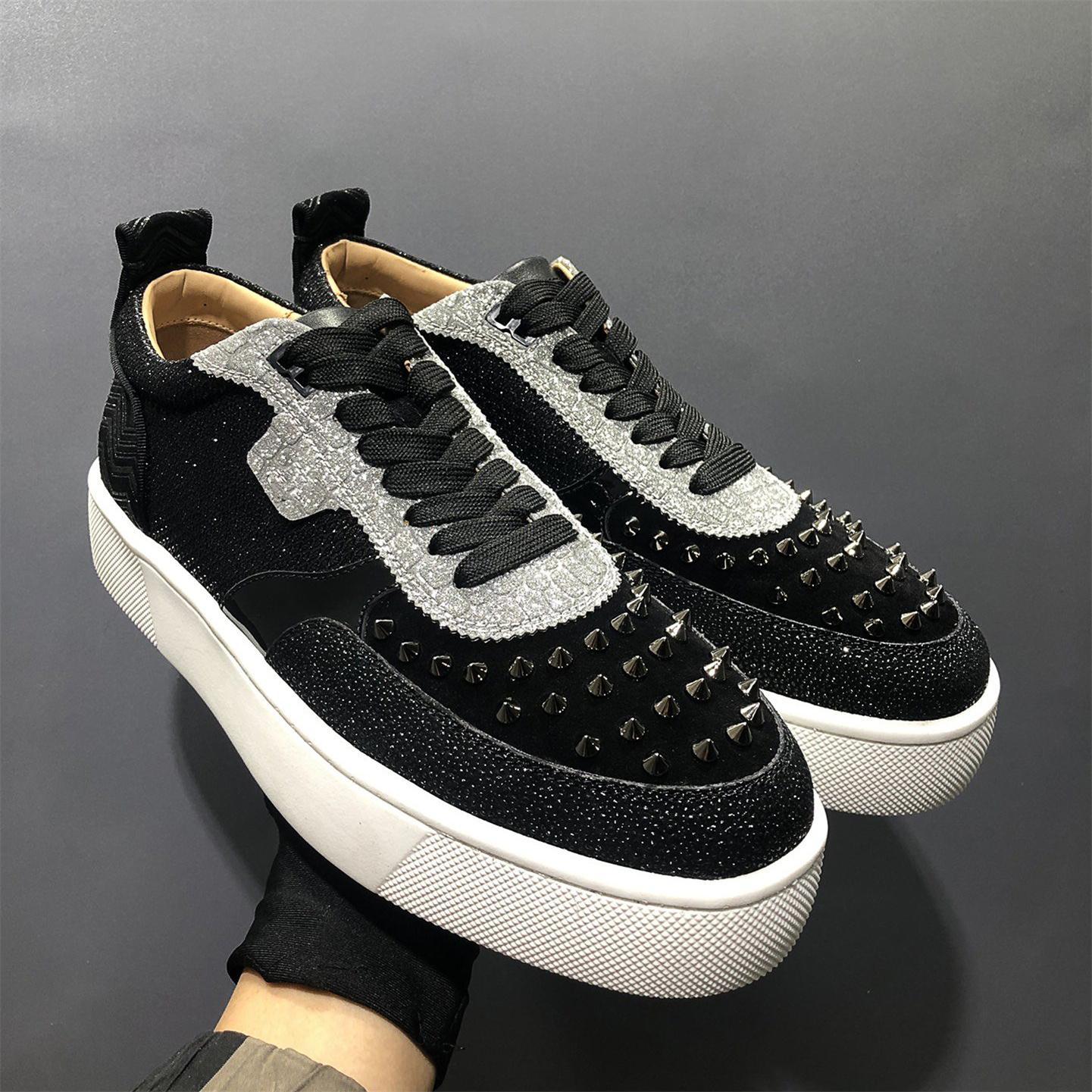 Christian louboutin 2021ss Yüksek Kalite Rahat Ayakkabılar Lüks Tasarımcı Sneaker Hakiki Deri Mesh Sivri Burun Yarış Runner Açık Havada US38-46 ve Kutu