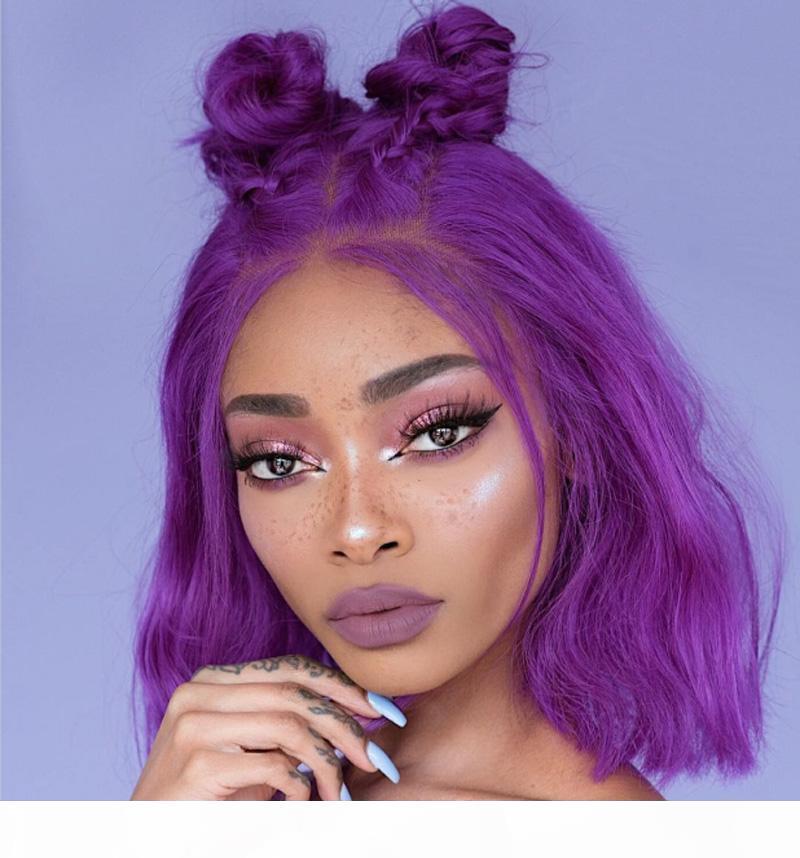 Pelucas de encaje llenas de cabello humano púrpura brasileño ola pelucas cortas para mujeres negras con pelo de bebé