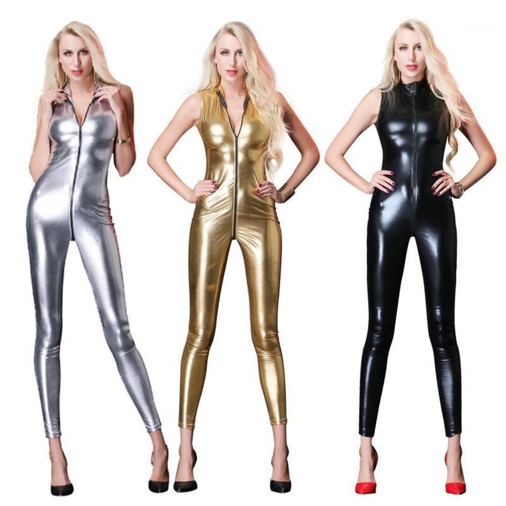 새로운 섹시 민소매 긴 catsuit 라텍스 바디 수트 바지 여성 가짜 가죽 지퍼가 가랑이 여성 비닐 점프 슈트 1