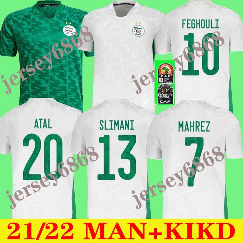 Algerie 2021 Home Away Jerseys de futebol Mahrez Feghouli Bennacer Atal 20 21 Argélia Kits de Futebol Camisa Men + Kids Conjuntos Maillot De Foot