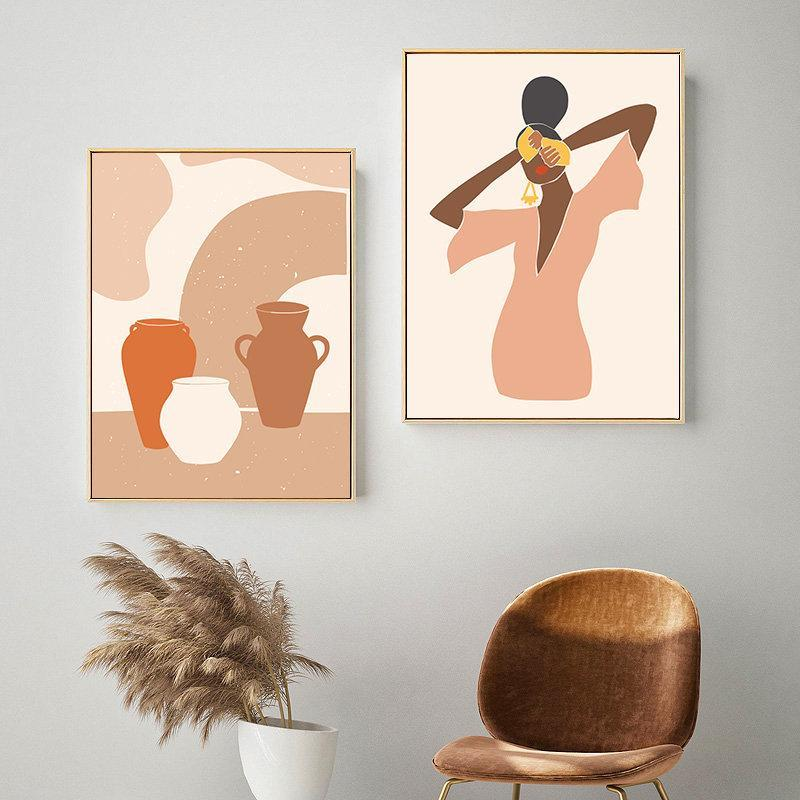 Paintings Nordic Abstract Vintage Wall Art Poster Geometric Plant Lady Line Canvas Painting Boho Decorative Picture Living Room Home Decor