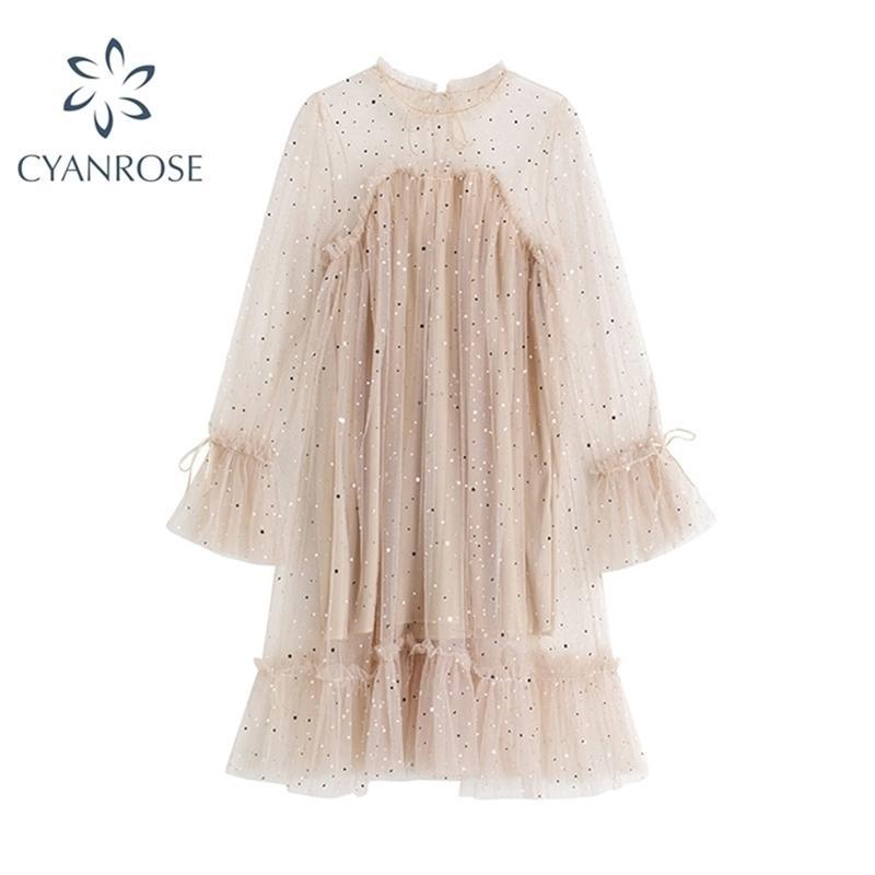 Donne Dress Dress Primavera Autunno Dress Elegante Manica lunga Paillettes Trasparente Bling Garza PRINCESS PRINCESSIVA Abiti da fata fata 210515