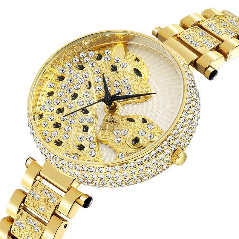 Tendência Personalidade Diamante Leopard Imprimir Senhoras Assista Dial Requintado Quartz Waterwatches à prova d'água