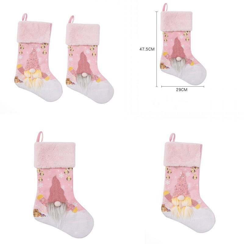 Decorazioni ornamenti calzini sacchetti di caramelle a casa decorare rosa con lampada albero natale ciondolo luminescenza rudolfo borsa regalo 13 5qd Y2