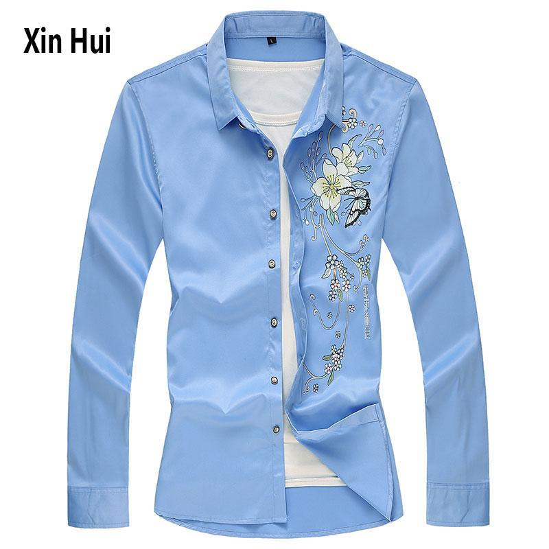 남성 의류 대형 인쇄 중국 스타일 셔츠 청소년 패션 슬림 긴팔 M-7L 캐주얼 셔츠