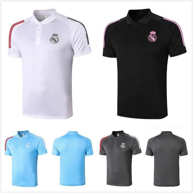 2021 Real Madrid Polo Weiß Fussball Jersey 20 21 Hazard Benzema F.Mendy Black Ramos Modric Football Uniformen Hemd Männer