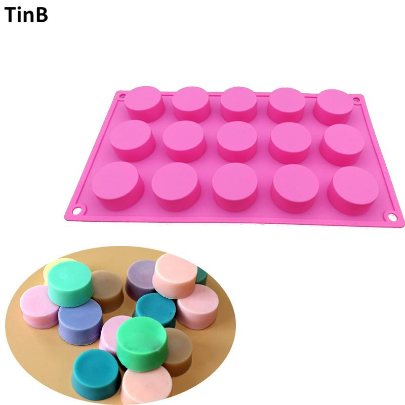 15 loch handgemachte silikon seife mold 3d runde harz lehm kerze pudding formen schokolade fondant kuchen mold küche backenwerkzeug
