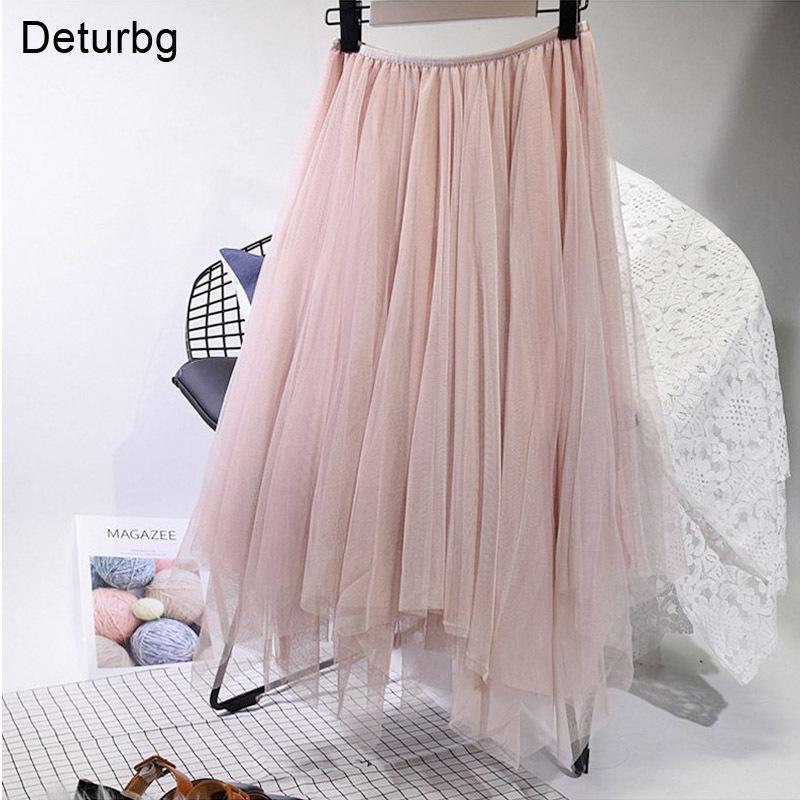 Vestidos informales Moda para mujer 3 capas Tutu Tulle Midi Falda Elástica Alta Cintura Irregular Faldas Plisadas Saia Faldas Saias Feminina
