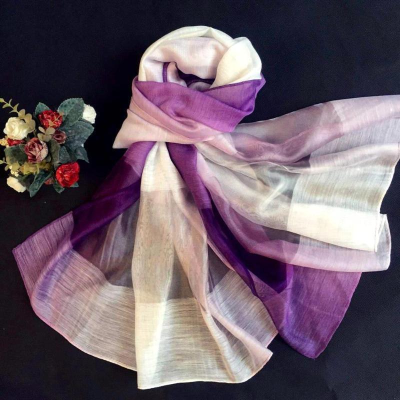 Шарфы весна и лето длинный шарф жаккардовый градиент шелковый кондиционер шаль прилив пляж полотенце hijab голову