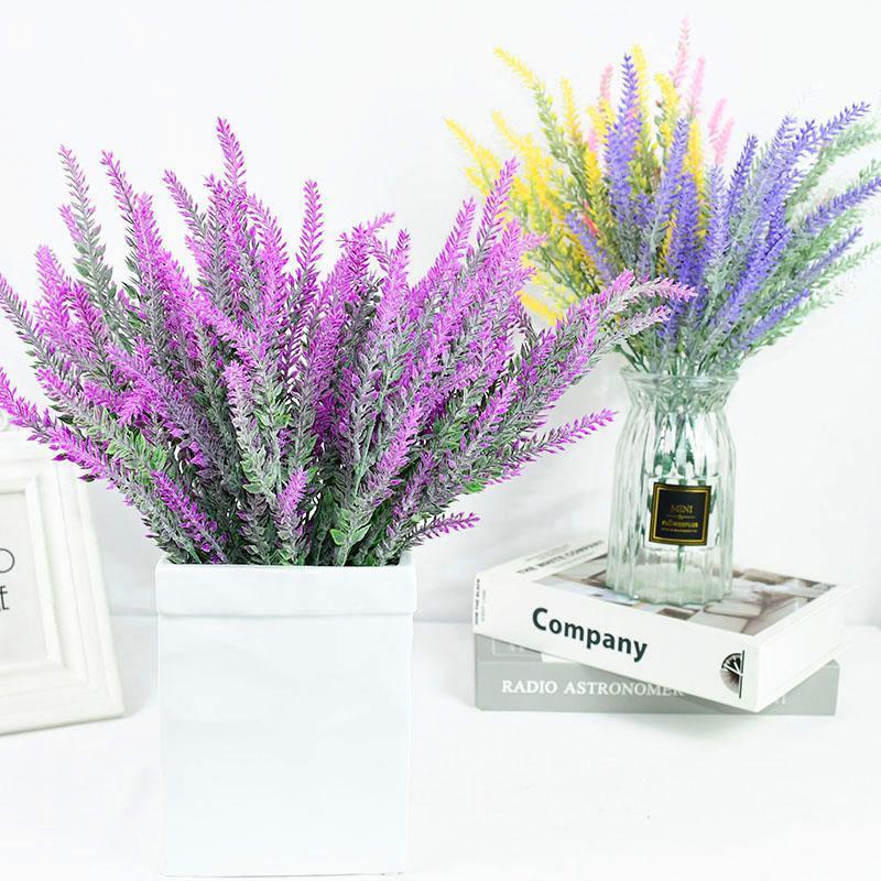 Flores decorativas guirnaldas 1 ramo romántico Provence lavanda plástico plástico grano artificial boda para casa jardín mesa decoración fake plantas