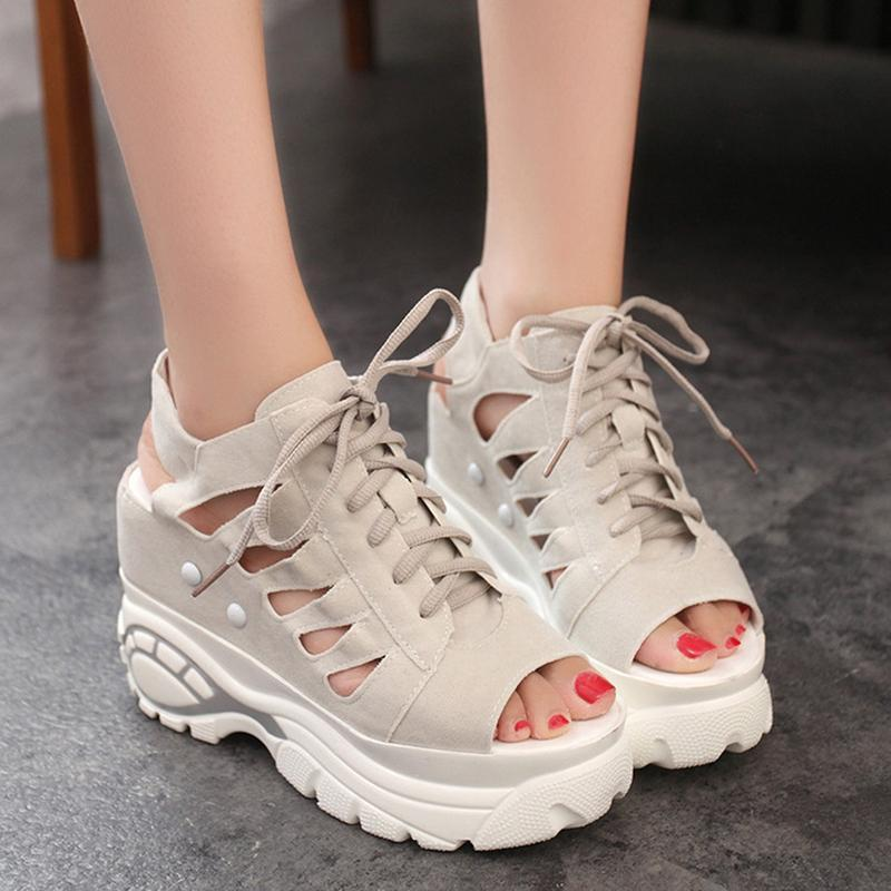 Yaz Su Geçirmez Yüksek Topuk Sandalet Moda Gladyatör Düz Alt Kadın Balık Ağız Hollow Kravat Bayan Ayakkabıları N1-97 Elbise