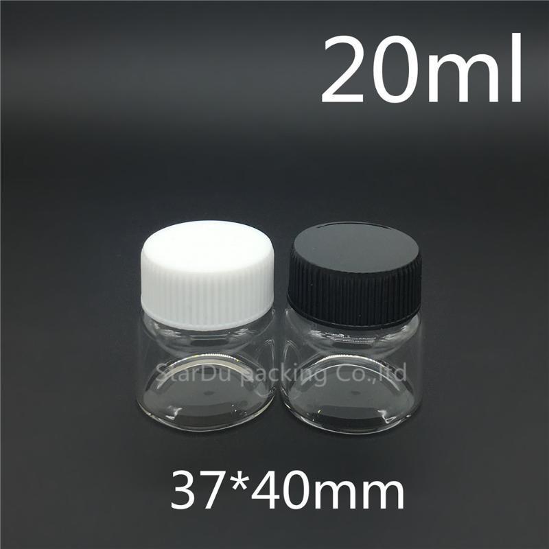 저장 병 항아리 200pcs 37 * 40mm 20ml 스크류 넥 유리 병 식초 또는 알코올,화물 / 보관 캔디 플라스틱 모자