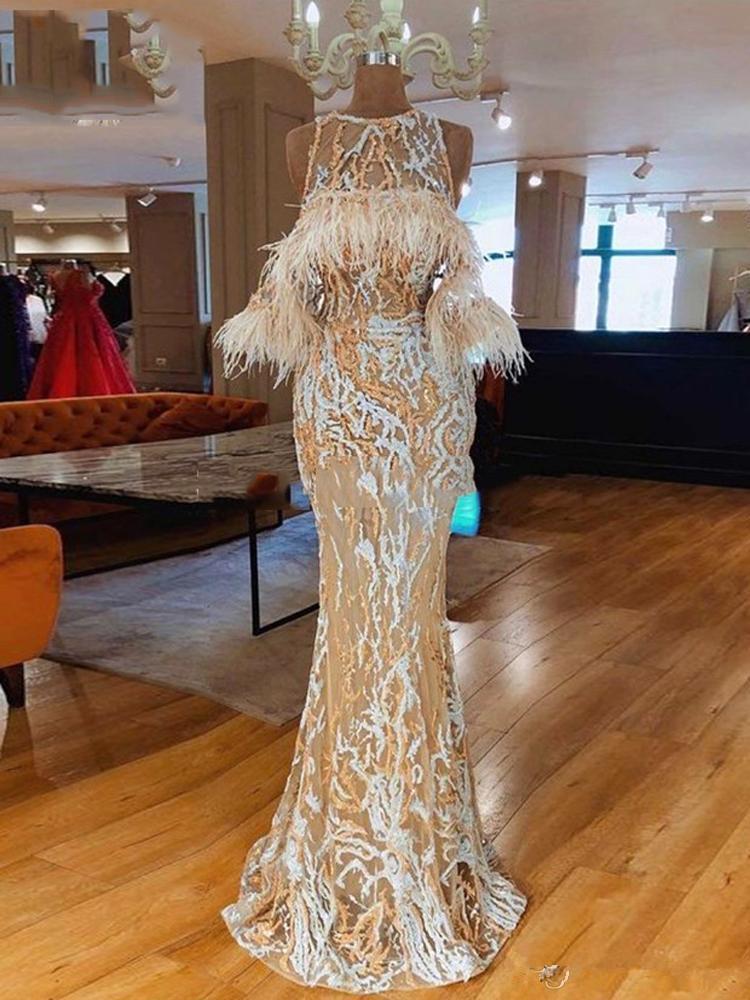 Newest Elegant Arabic Feather Evening Dress Long 2021 robe de soiree Lace Prom Dresses Islamic Dubai Women Formal Party Gown Custom Made
