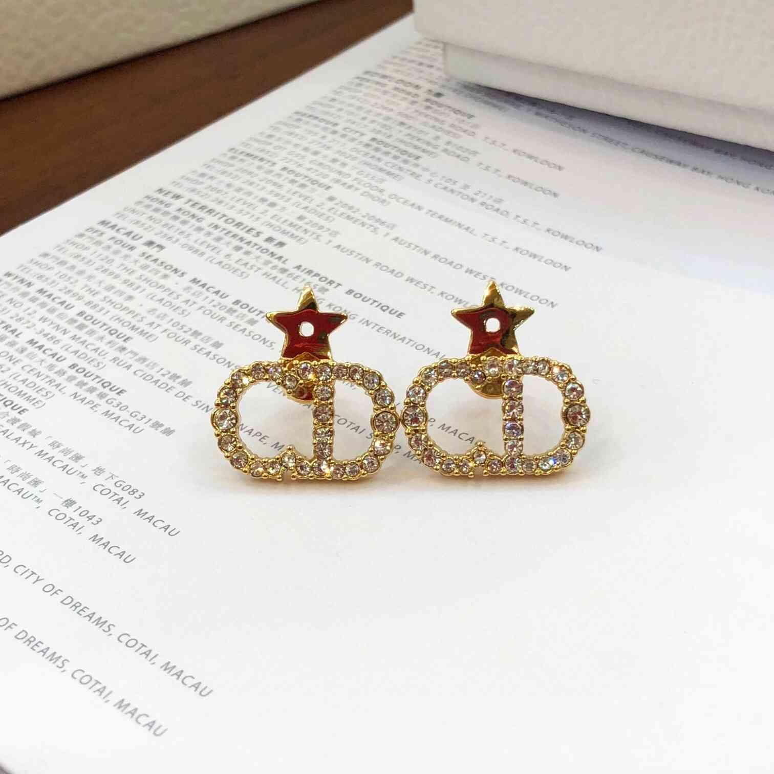 AAA Designer Jewelry jiadijia's new 925 silver needle letter full earrings high version temperament five pointed star Earrings