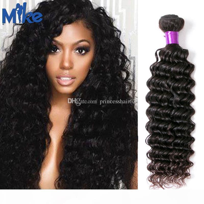 Mikeuhair Malaysian Remy Human Hair 1 Stück Brasilianisches Haar Tiefwelle Lockige Webart Natürliche Farbe Peruanische indische Haarbündel für Afrika Frauen