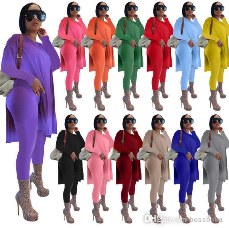 Women Designers Clothes 2021 Tracksuits Two Piece Set Suits Long Sleeve Suit Solid Medium Length Split Plus Size Women Clothing XS--5xl