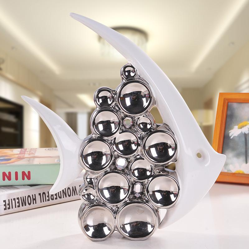 Bouble casal beijo peixe vaso moderno artigos de mobiliário de cerâmica para sala de estar decoração de casa bolha de prata