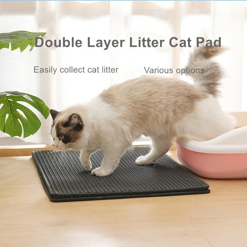 고양이 침대 가구 방수 애완 동물 쓰레기 매트 더블 레이어 패드 트랩 상자 제품 침대 고양이 집 청소
