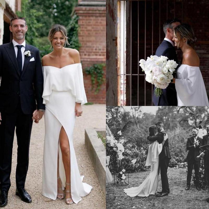 Full Sleeves Garden Wedding Dresses Bateau Neck Zipper Back Gowns for Bride Side Split Long Summer Robe De Marrige