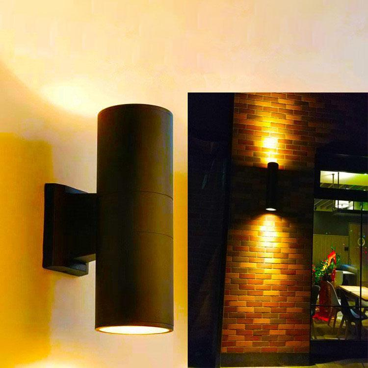 방수 6W 10W 벽 램프 야외 장식 위아래 및 아래로 듀얼 헤드 알루미늄 실린더 COB LED 현관 조명 AC 85-265V 램프