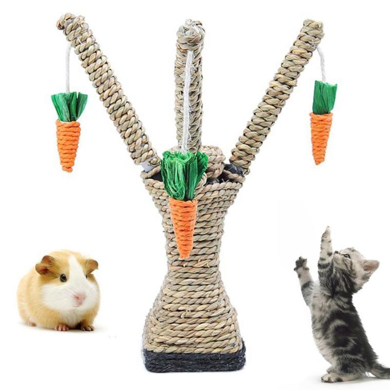 Pet Cat Toys Hamster Climbing Carrot Tree Tower Shelf Scratching Post Chewing Toy Supplies