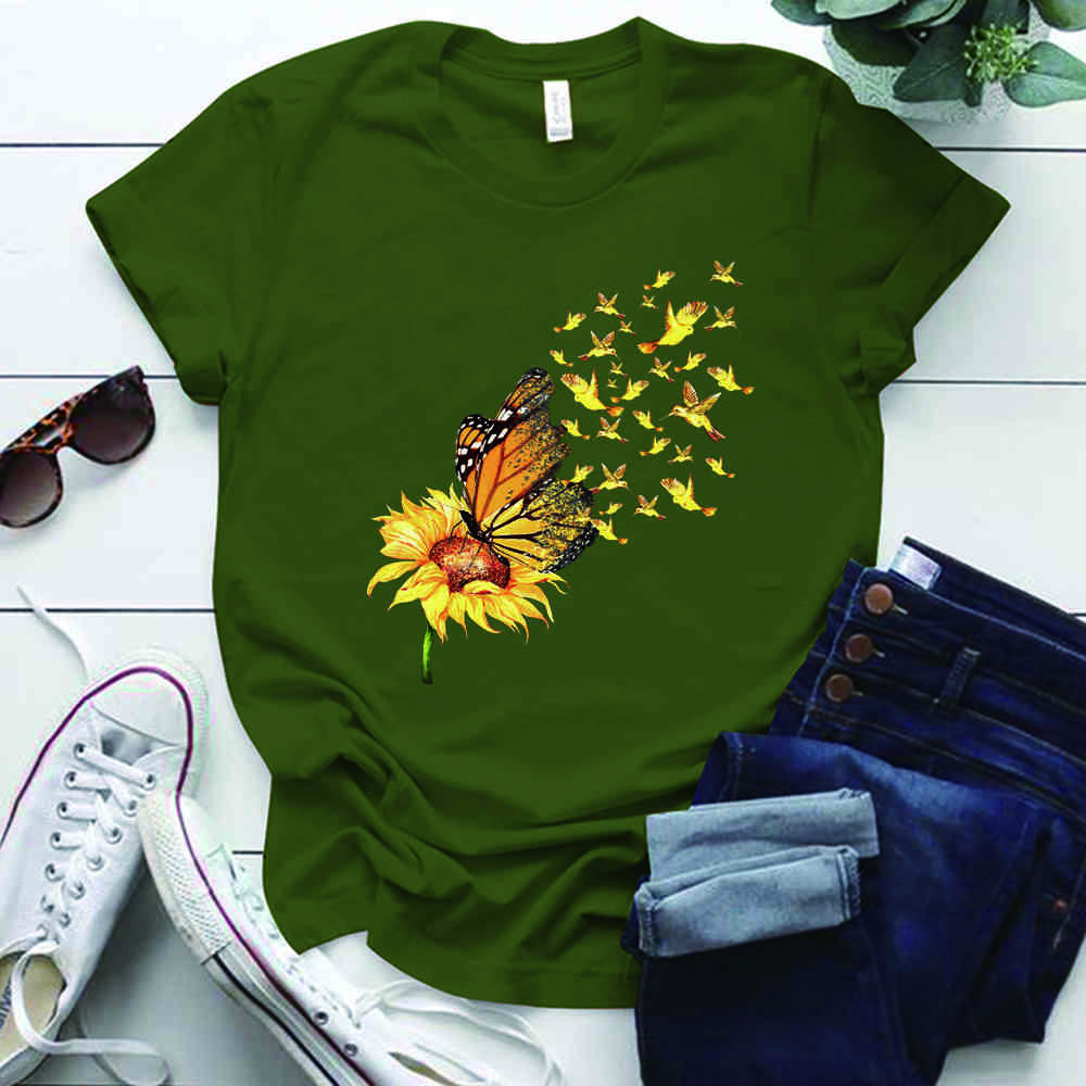 Größe Vintage Zonnebloem Vlinder Afdrukken Vrouw T-Shirts Plus O-Hals Esthetische Femme T-shirts S-5XL Zomer Vrouwen Tops Ropa Mujer