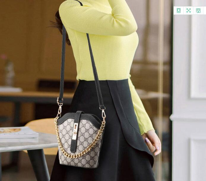2021 new fashion Korean version versatile bucket bag single shoulder cross body bag printed bag