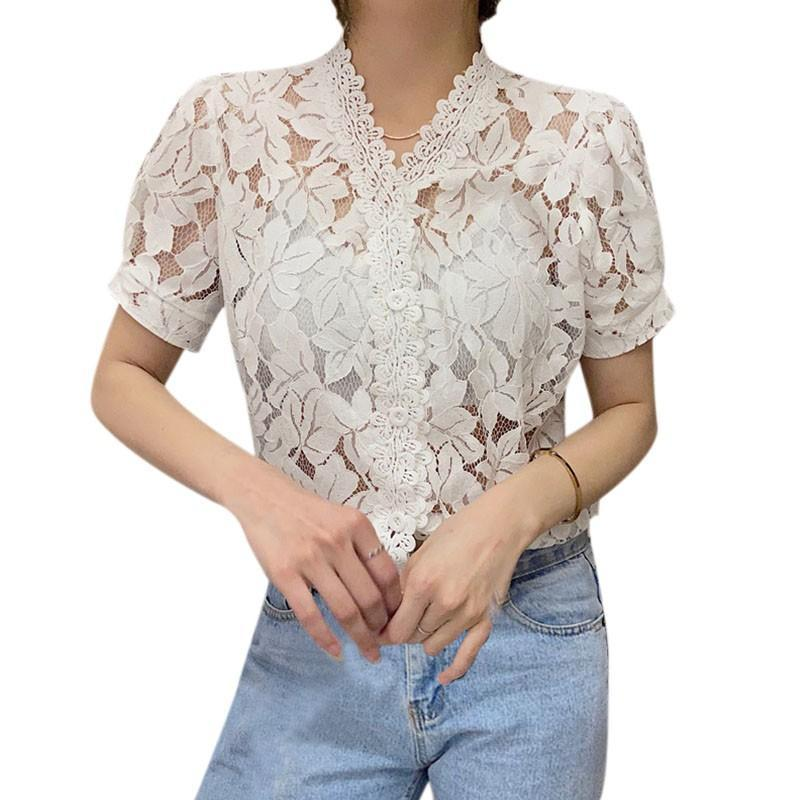 Women Blouses Korean Summer Sweet Shirts Age Reduction Blouse Top Perspective Lace Puff Sleeve Tops V-Neck Short-Sleeved Shirt Women's &
