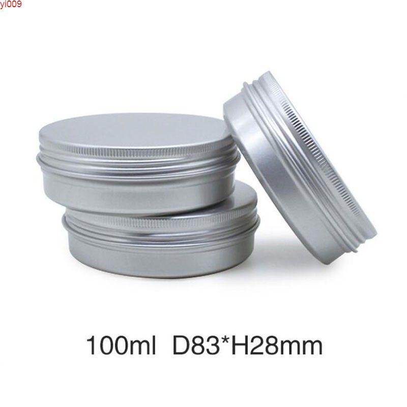 100 ml creme jar topf kann leeres kosmetisches metall aluminium runde blechdosen kasten container 30 teile / los schraubengewinde lidjars