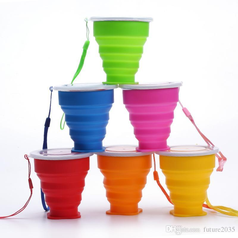 Portable Silicone Folding Cups Multifunction Tumblers Retractable Outdoor Travel Camping Water Cup With Lanyard 6 Colors
