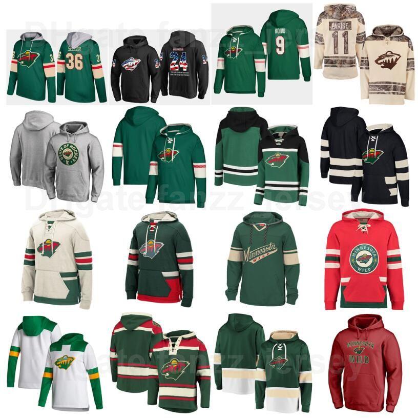 Minnesota Wild Jersey Hockey 11 Zach Parise Chaquetas con capucha 25 Jonas Brodin con capucha 18 Sudaderas con capucha Greenway Marcus Foligno Sudaderas Hombres Mujeres Niños