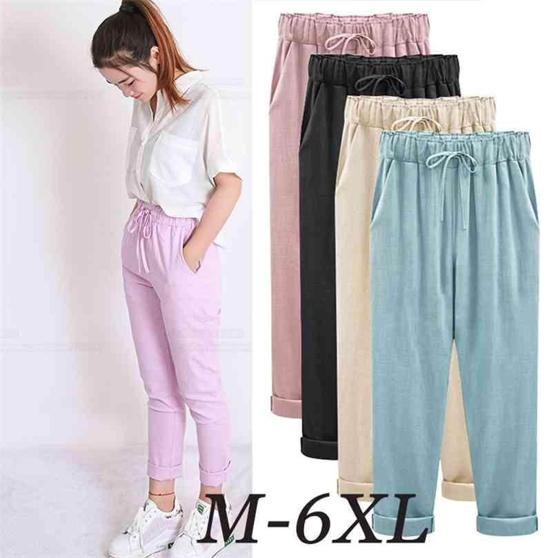 Summer Harem Pants Womens High Waist Loose Straight Nine Casual Trousers Large Size 6XL OL Slacks 210922