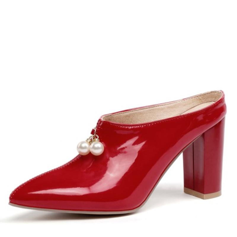 Sexy Shallow Slippers Women High Heels Summer Mules Shoes Woman Luxury Brand Designer Pointed Toe Red Sandals Large Size 210521