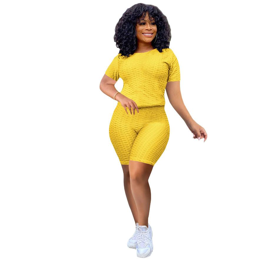 Piña de mujer Nueva tela deportes de ocio Pantalones de yoga Set S6AM