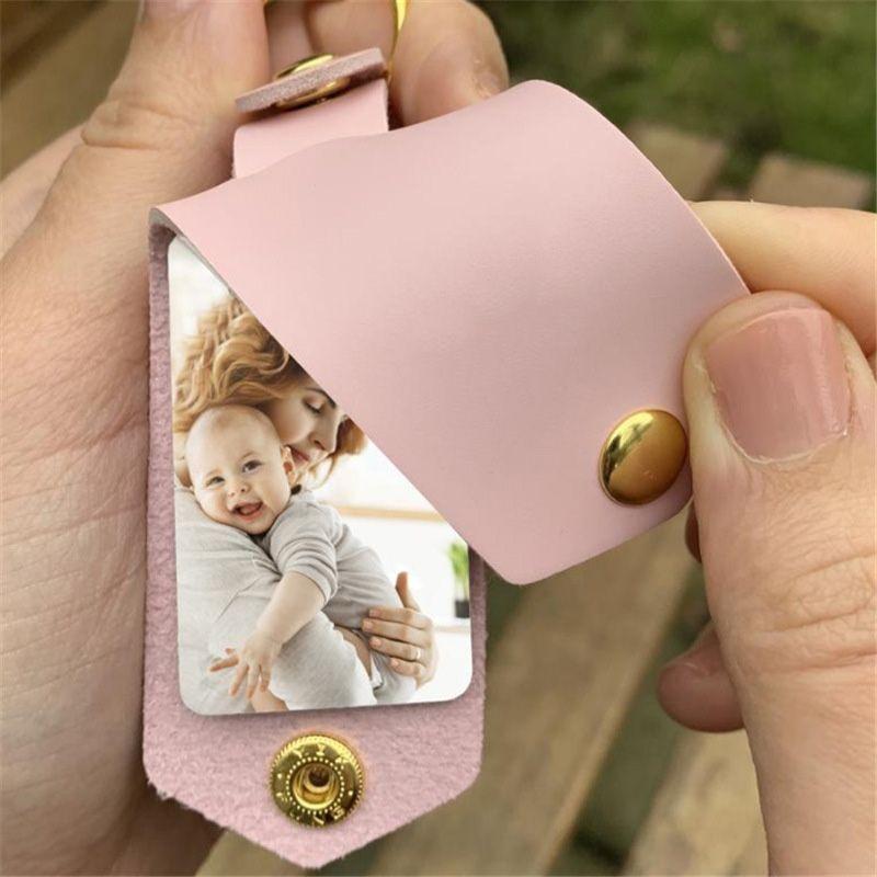 DIY Сублимационные передача фото наклейки брелок подарки для женщин кожаный алюминиевый сплав автомобиль ключ кулон подарок RRD7256