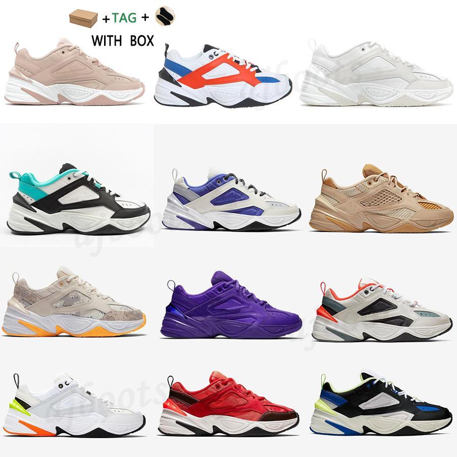 2021 Homens Mulheres M2K Tekno Chunky Sapatos Sapatilhas Top Alta Qualidade Platinum Sail Sail Tint Branco Azul Ameixa Ambolo Cinza Preto Khaki Treinadores