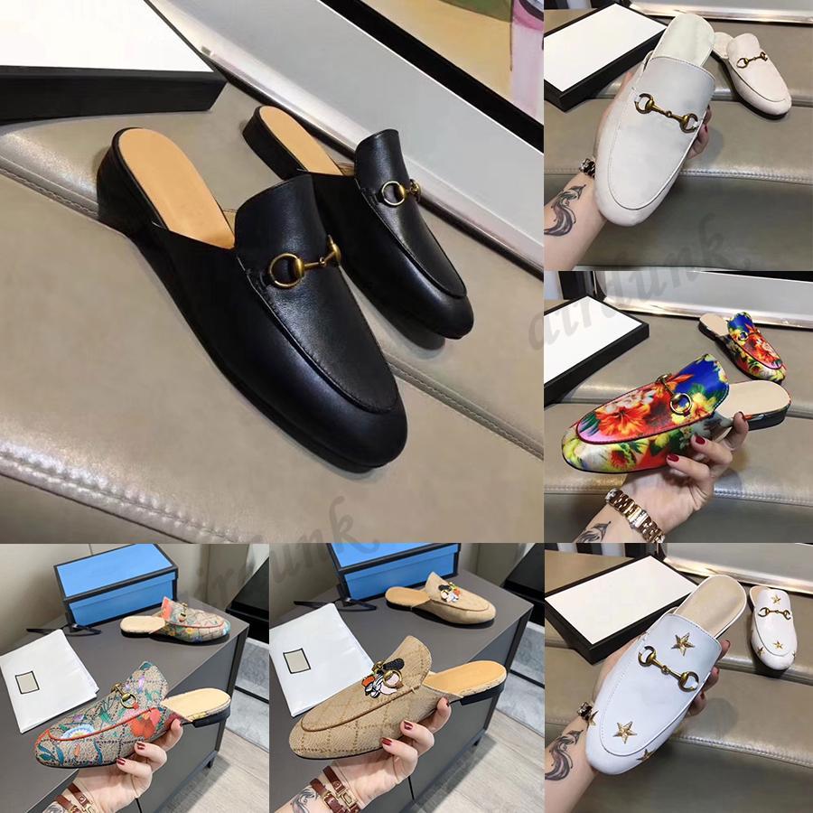 2021 مصمم baotou الرجال النساء النعال الجلود المتسكعون الناعمة جلد البقر كسول الأحذية المعدنية مشبك شاطئ الشرائح البغال princedown الكلاسيكية سيدة شبشب مع مربع 35-45