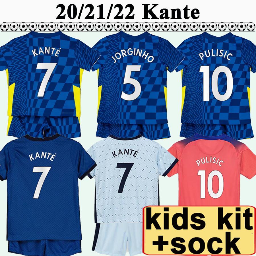 20 21 22 Giroud Pulisic Kit Kit de football Jerseys Morata Kante Ziyech Home Away 3ème shirt de football Kovacic Jorginho Enfant manches courtes